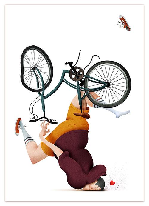 爱情单车手绘画