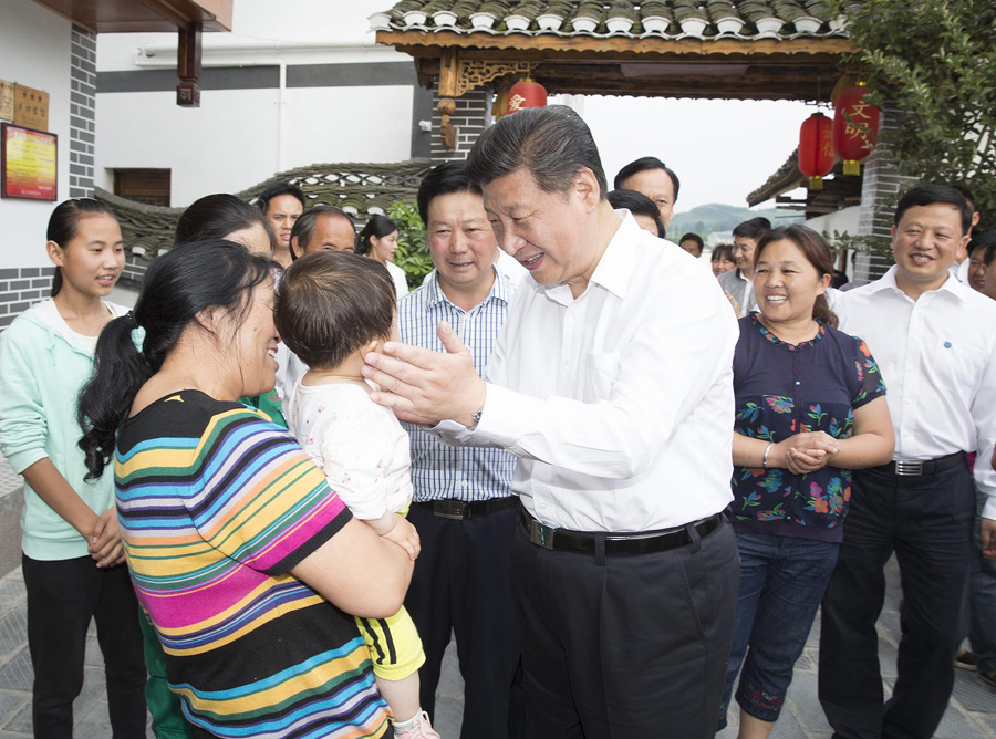 "Chinese President Xi Jinping meets with people from local ""agritainment"" in Zunyi, southwest China"