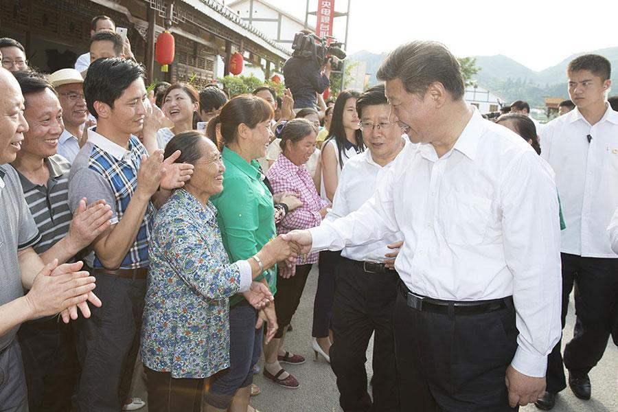 Chinese President Xi Jinping meets local villagers in Zunyi, southwest China