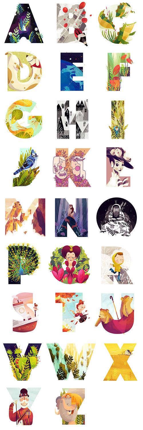 造型和色彩以及对内容的创想都是她的强项,让人感觉这26个字母完全没