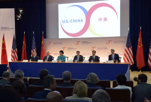 High-level officials attend the seventh China-U.S. Strategic and Economic Dialogue (S&ED) and the sixth China-U.S. High-Level Consultation on People-to-People Exchange (CPE) in Washington D.C., the United States, June 23, 2015. China and the United States opened their annual high-level talks here Tuesday to deepen cooperation in strategic and economic issues and further promote people-to-people exchanges. (Xinhua/Yin Bogu)