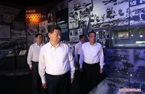 "Top Communist Party of China (CPC) and state leaders Xi Jinping (2nd L), Li Keqiang (R), Zhang Dejiang (L) and Yu Zhengsheng (2nd R) visit the ""Great Victory, Historic Contribution"" exhibition commemorating the 70th anniversary of the victory of the Chinese People"