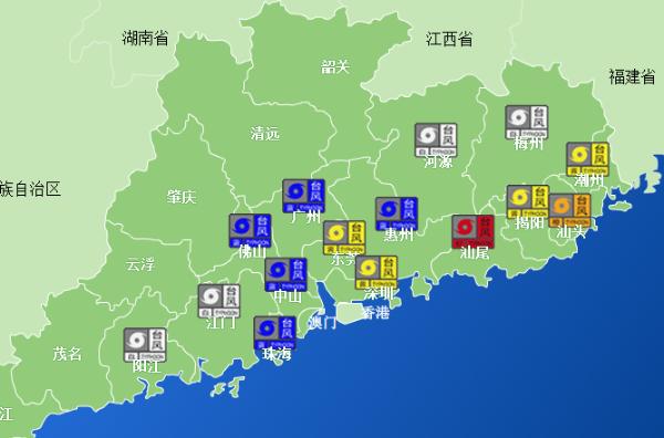 """预计""""莲花""""后续移动路径将横扫广东沿海地区,东莞,深圳等沿海城市仍"""