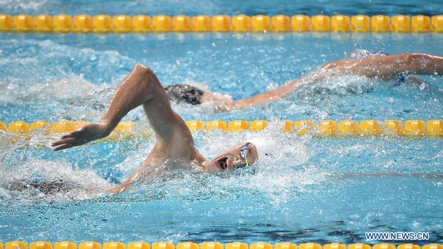 Сунь Ян третий раз выигрывает 400-метровку вольным стилем на Чемпионате мира по водным видам спорта в Казани