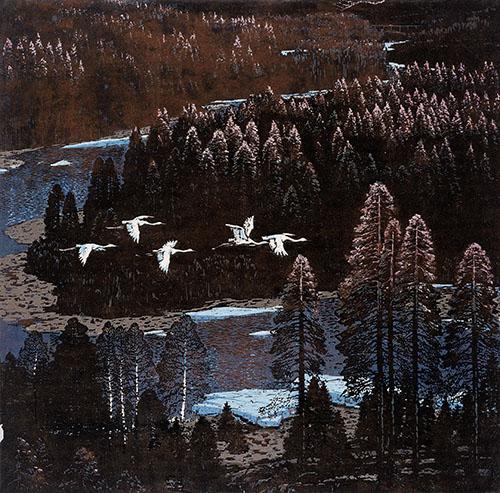 《林溪》 杜鸿年 木版套色 1979年