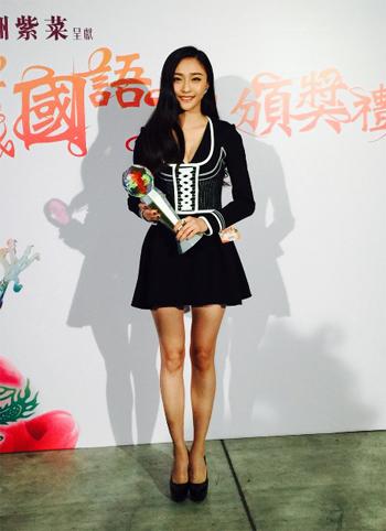 李琦陈冰现身香港新城国语力颁奖礼