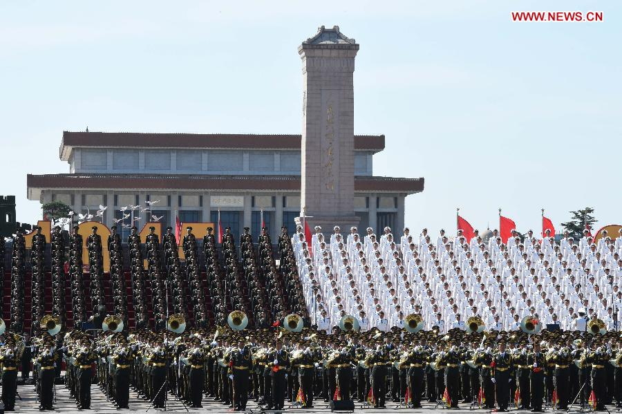 Members of joint military band and choir attend the commemoration activities to mark the 70th anniversary of the victory of the Chinese People