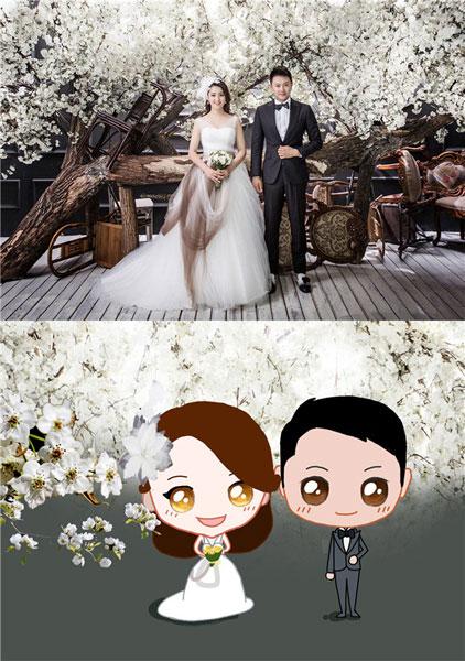 印小天新婚在即 网友制作q版婚纱照送祝福
