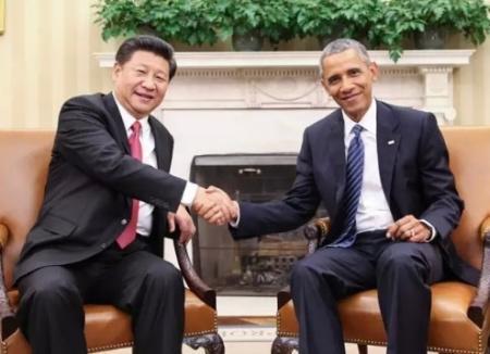 9月25日,国家主席习近平在华盛顿同美国总统奥巴马举行会谈.(新华网)图片