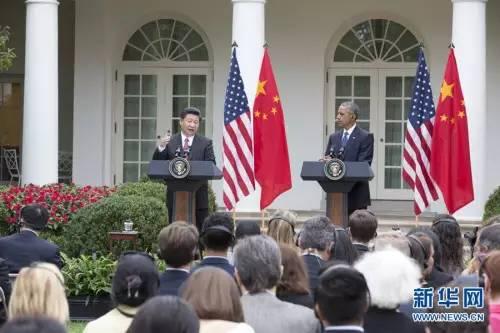▲9月25日,国家主席习近平在华盛顿同美国总统奥巴马举行会谈。会谈后,两国元首共同会见记者。