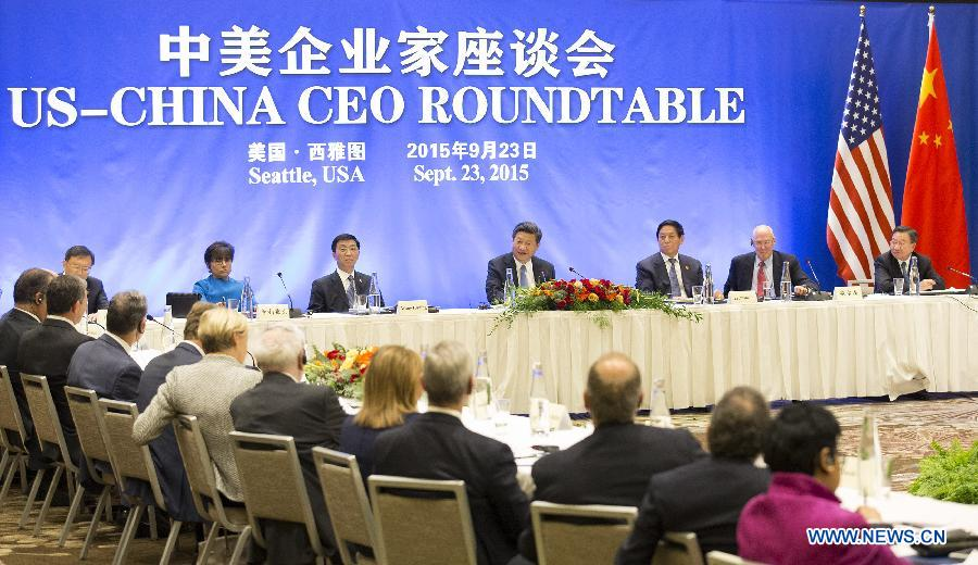 Chinese President Xi Jinping(C back) speaks at a China-U.S. CEO roundtable discussion in Seattle, the United States, Sept. 23, 2015. (Xinhua/Huang Jingwen)