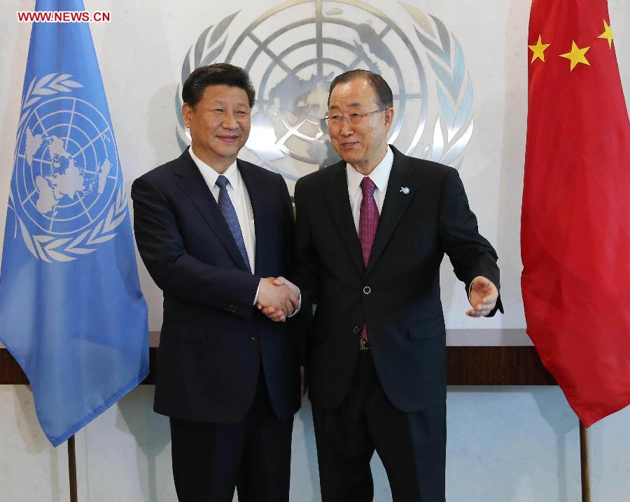 Chinese President Xi Jinping(L) meets with UN Secretary-General Ban Ki-moon at the UN headquarters in New York, Sept. 26, 2015. (Xinhua/Liu Weibing)