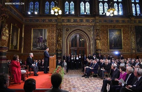 الرئيس الصيني يلقي خطابا في البرلمان البريطاني