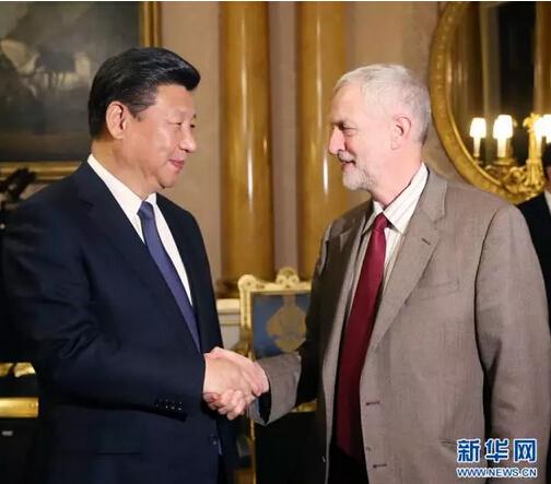 10月20日,国家主席习近平在伦敦会见英国工党领袖杰里米·科尔宾。 新华社记者 姚大伟 摄