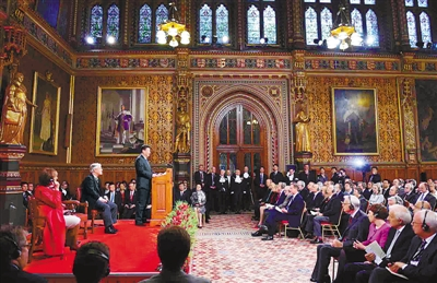 Xi delivered a speech in the Royal Gallery of the British Parliament on Oct.20.