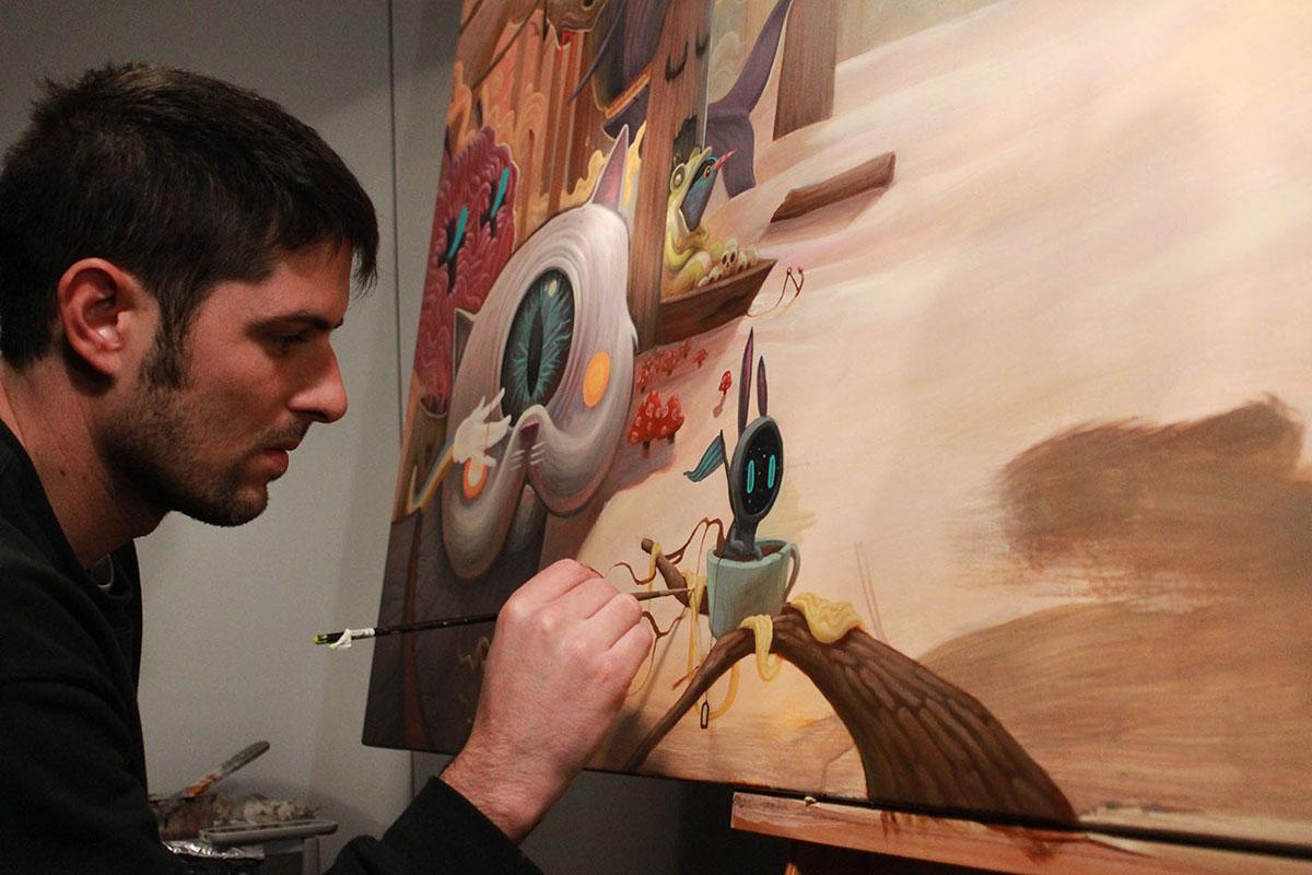 帆布丙烯画的作画过程
