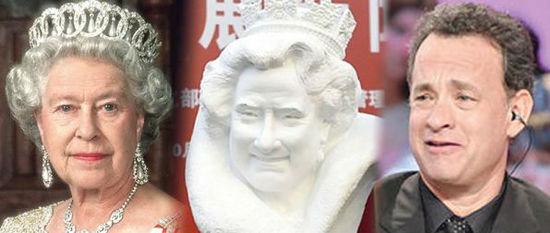 左起为英国女王、陈大鹏雕像及汤姆·汉克斯。(香港《明报》网站)