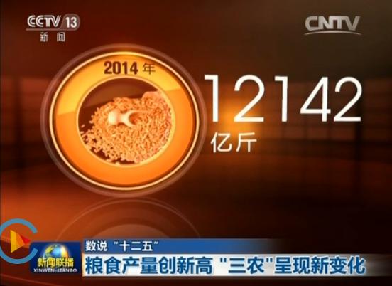 """數說""""十二五""""生動解讀2014年全國糧食產量與每人每天的飯量換算"""