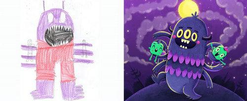 """""""怪物项目""""   孩子们没                    学校里画画是很荒谬的,但"""