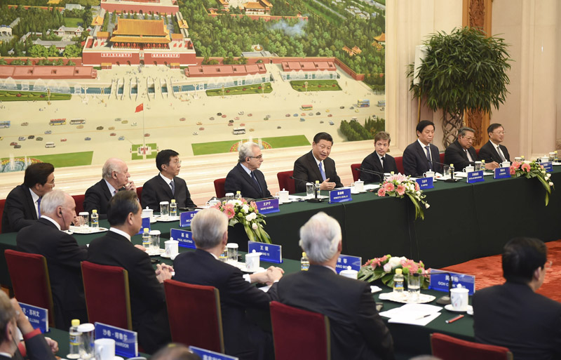 """11月3日,习近平在北京人民大会堂会见第二届""""读懂中国""""国际会议外方代表。"""