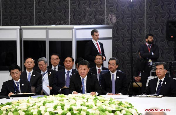 Chinese President Xi Jinping speaks at a BRICS leaders