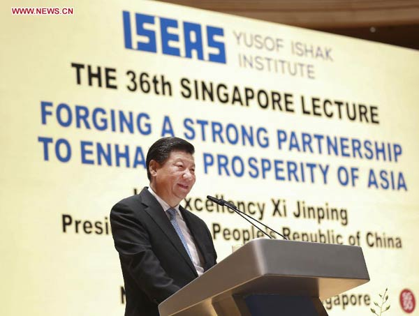 Chinese President Xi Jinping delivers a speech at the National University of Singapore in Singapore, Nov. 7, 2015. (Xinhua/Lan Hongguang)