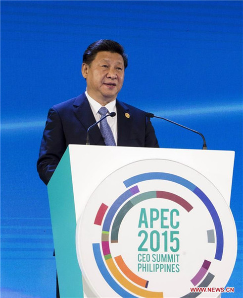 President Xi Jinping addresses the APEC CEO summit in Manila, the Philippines, Nov 18, 2015. [Photo/Xinhua]