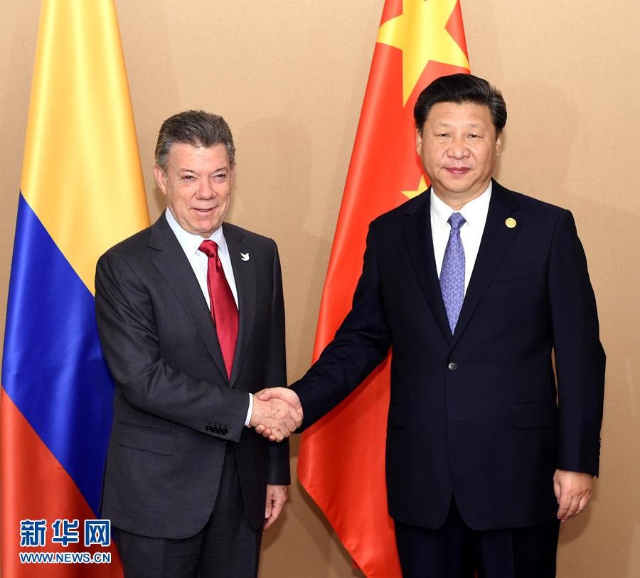 الرئيس الصيني يجتمع مع الرئيس الكولومبي
