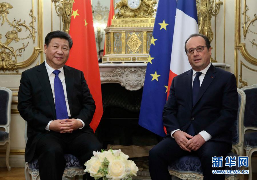 Les présidents chinois et français organisent des discussions bilatérales