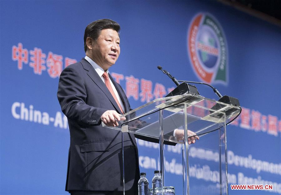 Chinese President Xi Jinping delivers a speech in the high-level dialogue with Chinese and African business dignitaries, also closing ceremony of the fifth China-Africa enterprises conference, in Johannesburg, South Africa, Dec. 4, 2015. (Xinhua/Huang Jingwen)