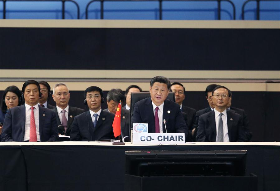 Chinese President Xi Jinping (front) attends the plenary meeting of the Johannesburg Summit of the Forum on China-Africa Cooperation in Johannesburg, South Africa, Dec. 5, 2015. (Xinhua/Yao Dawei)