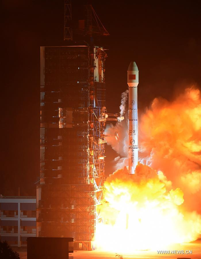 A Long March-3C rocket carrying the ChinaSat 1C satellite blasts off at the Xichang Satellite Launch Center in southwest China