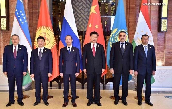التقى الرئيس شي مع رؤساء وزراء روسيا وكازاخستان وقيرغيزستان وطاجيكستان والنائب الأول لرئيس وزراء أوزبكستان