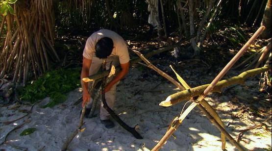 迈克用树枝做架子