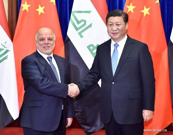 اجتماع الرئيس الصيني شي جين بينغ مع رئيس الوزراء العراقي حيدر العبادي