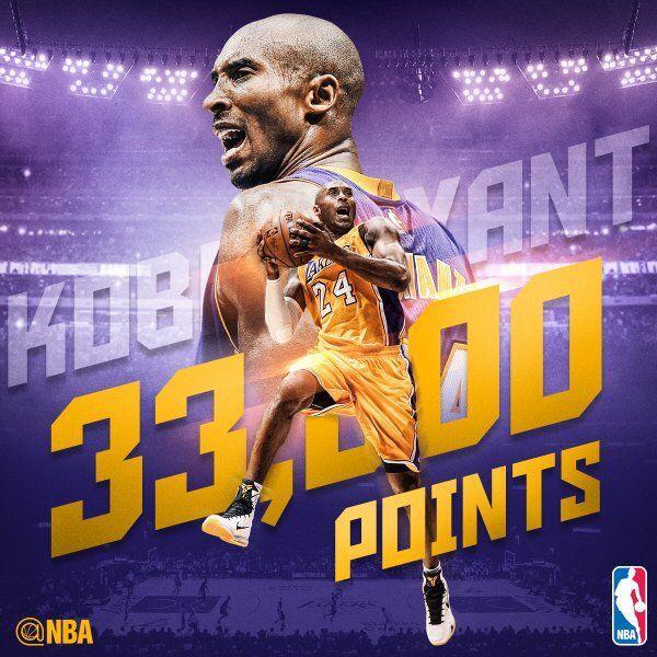 科比生涯总得分突破33000大关 成 NBA历史第