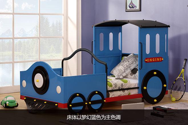 点评: 富沃德豪华蓝色火车床的外型像极了一辆正在开动的小火车,主色调为蓝色,搭配弧形黑色顶棚和多彩边色,车头配有圆形喇叭,惟妙惟肖、俏皮可爱。相信看过《托马斯小火车》这部动画片的孩子见到这款床时一定很兴奋。床体的尺寸为:2085mm*1122mm*1295mm(床尾高度),比例看上去协调又美观。富沃德豪华蓝色火车床外观评测9.