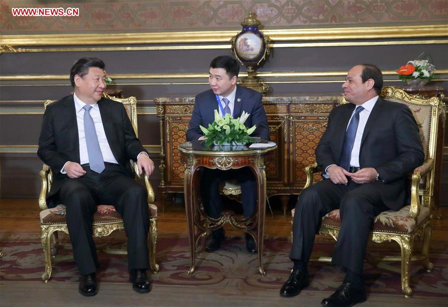 CAIRO, Jan. 20, 2016 (Xinhua) -- Chinese President Xi Jinping (L) meets with Egyptian President Abdel Fattah al-Sisi (R) in Cairo, Egypt, Jan. 20, 2016. (Xinhua/Ju Peng)
