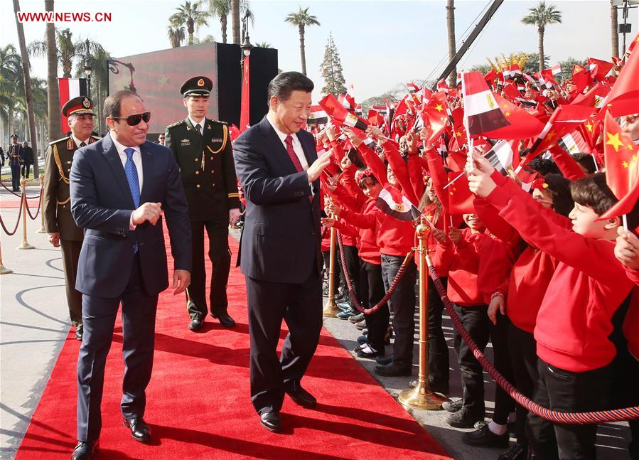 CAIRO, Jan. 21, 2016 (Xinhua) -- Chinese President Xi Jinping attends a grand welcome ceremony before talks with Egyptian President Abdel-Fattah al-Sisi outside the Quba Palace in Cairo, Egypt, Jan. 21, 2016. (Xinhua/Yao Dawei)