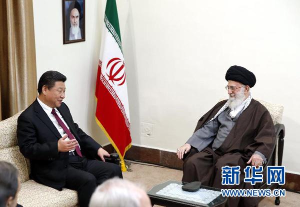 1月23日,国家主席习近平在德黑兰会见伊朗最高领袖哈梅内伊。