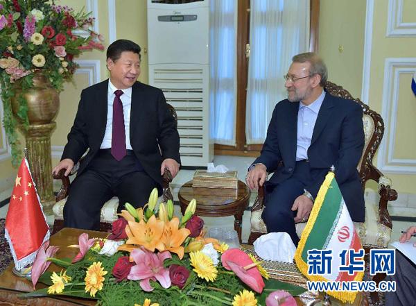 1月23日,国家主席习近平在德黑兰会见伊朗伊斯兰议会议长拉里贾尼。