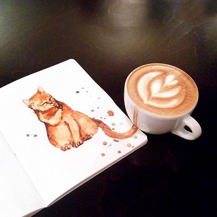 La ilustradora rusa Elena Efremova no solo se bebe el café, también muestra su sabor dibujando gatos con él. ¡Es perfecto!