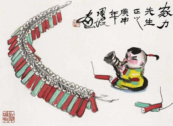 Une peinture chinoise signée Zhou Bo, représentant un adorable bébé et des pétards pendant la Fête du Printemps.