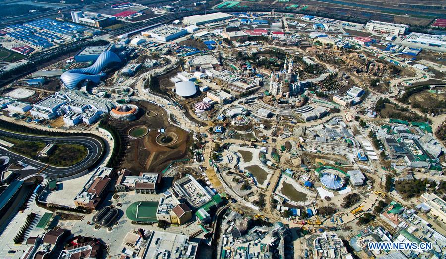 An aerial photo taken on Feb. 3, 2016 shows a panoramic view of the Shanghai Disneyland in Shanghai, east China. Shanghai Disneyland announced that it will start sell tickets on March 28 this year. The Disneyland offers both regular and peak-priced tickets with regular pricing at 370 yuan (about 56 US dollars) and peak pricing at 499 yuan (about 76 US dollars). (Xinhua)