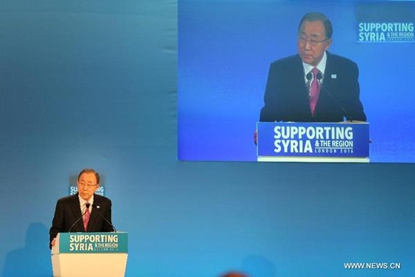 ألقى الأمين العام للأمم المتحدة بان كي مون كلمة في مؤتمر مانحين بشأن سوريا في لندن