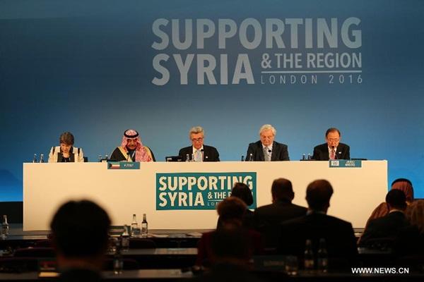 حضر الأمين العام للأمم المتحدة بان كي مون مؤتمر مانحين بشأن سوريا في لندن
