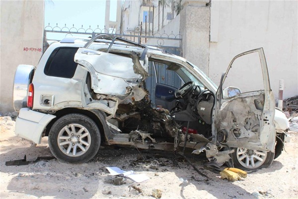 الصورة للسيارة المتفجرة في مقديشيو عاصمة الصومال