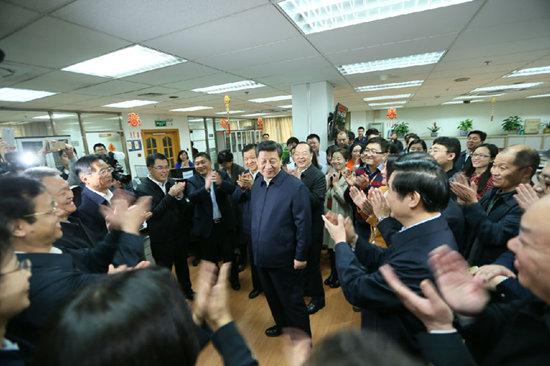 2月19日上午,习近平来到人民日报社调研。人民日报记者 杜尚泽