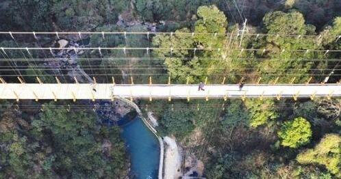 天桥离地面148米,脚下的景致清晰可见