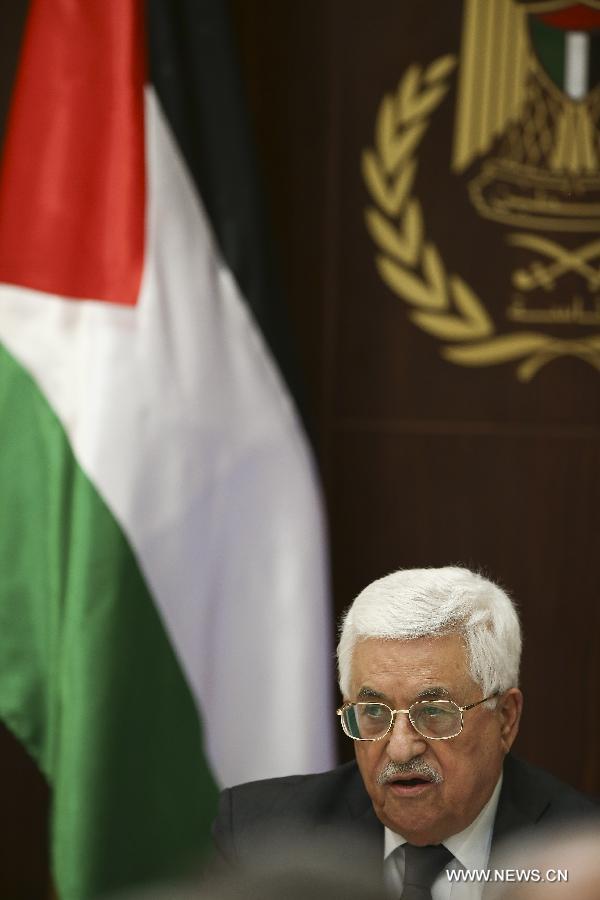 ألقى الرئيس الفلسطيني محمود عباس كلمة في بداية اجتماع للجنة التنفيذية لمنظمة التحرير الفلسطينية برئاسته في مدينة رام الله في الضفة الغربية